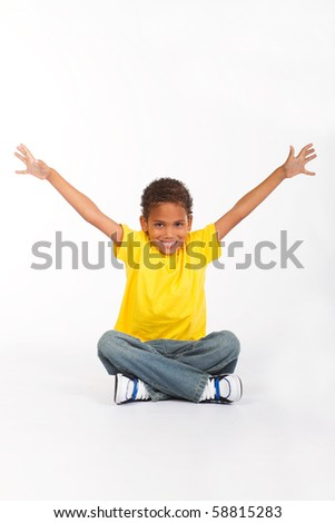 cute indian boy on white - stock photo
