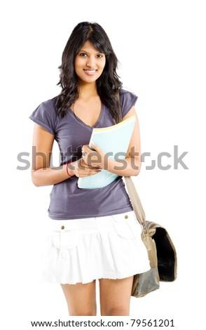 cute indian college student studio portrait - stock photo