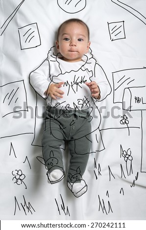 Cute infant baby boy taking out the garbage sketch - stock photo