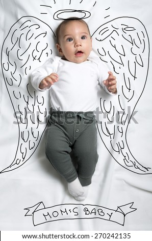 Cute infant baby boy with angel wings sketch - stock photo