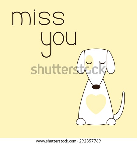 Cute jack russel terrier sits with his eyes closed. Lettering miss you. Concept of love, loneliness and devotion - stock photo