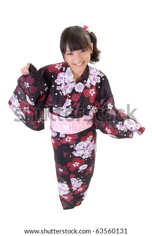 Cute japanese girl with traditional clothes smiling against white background. - stock photo