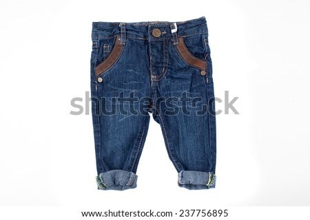 cute jeans for kids, isolated on white - stock photo
