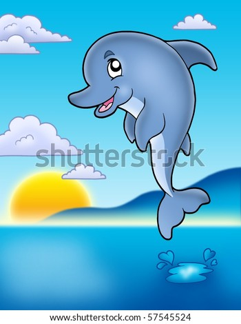 Cute jumping dolphin with sunset - color illustration. - stock photo