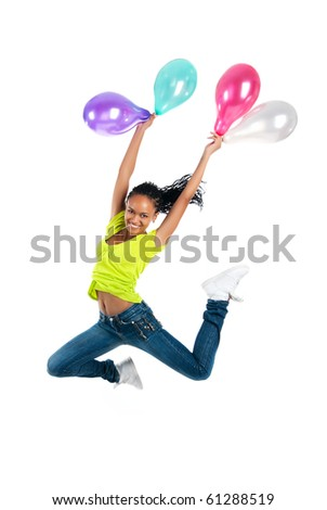 Cute jumping girl isolated on white background - stock photo