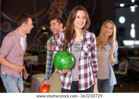 Cute kegling team is spending time together - stock photo