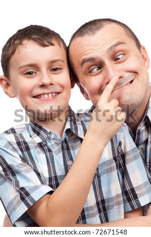 Cute kid and his dad making funny faces, isolated on white background - stock photo