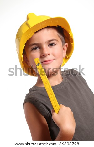 Cute kid as a construction worker - isolated on white - stock photo