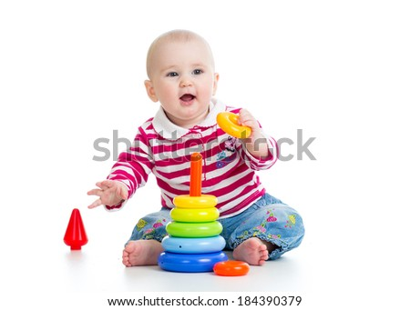 cute kid girl playing with educational toy isolated on white