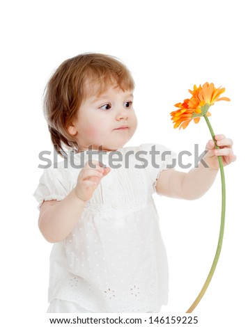 cute kid girl with flower - stock photo