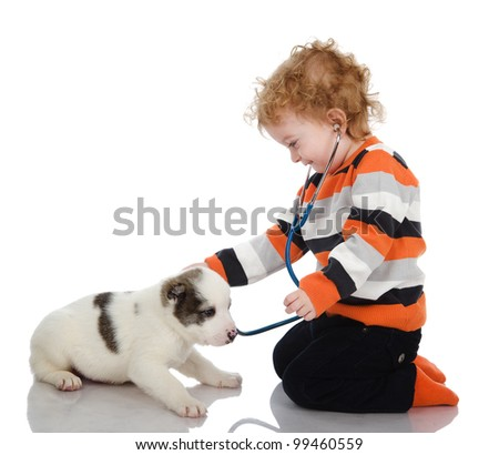 cute kid making a checkup of a  puppy dog. isolated on white background - stock photo