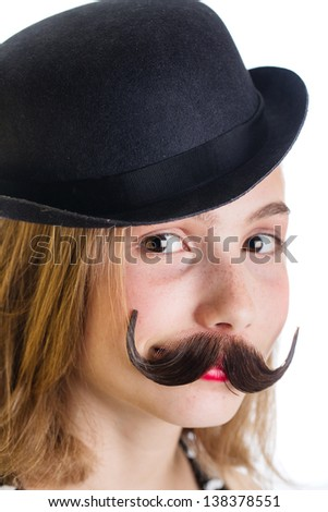 cute kid with a fake mustache and a bowler hat