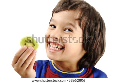 Cute kid with kiwi isolated
