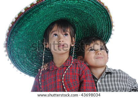 Cute kid with mexican hat on head - stock photo