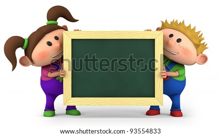 cute kids holding a blank chalkboard - high quality 3d illustration
