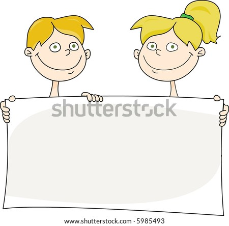 Cute kids holding a greeting card - stock photo