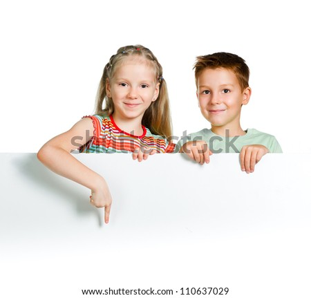 cute kids with white board - stock photo