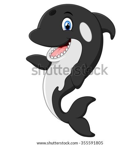 Cute killer whale cartoon - stock photo