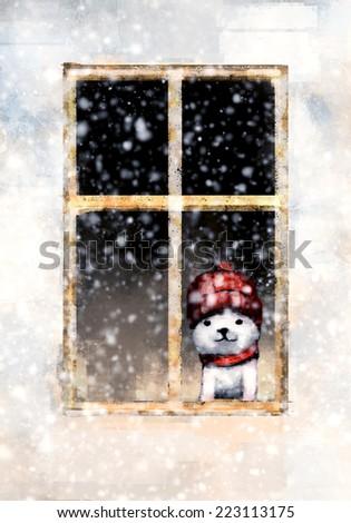 Cute kitten sitting on the window ,Digital painting - stock photo