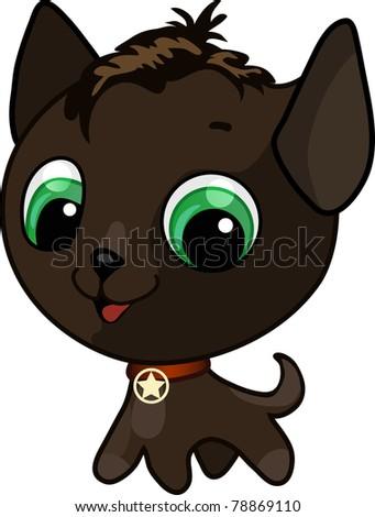 Cute kitten vector illustration - stock photo