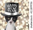Cute kitten wearing a happy new year hat. - stock photo