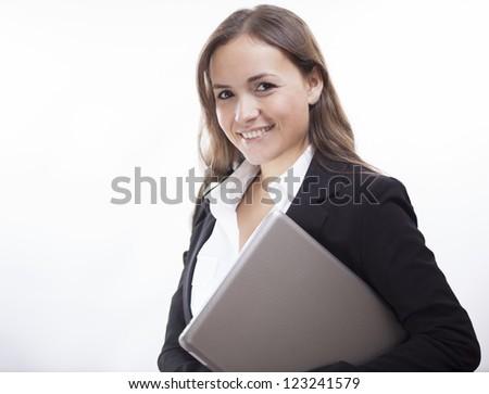 Cute latin business woman loving her job - stock photo