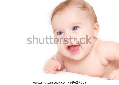 Cute laughing baby isolated on white - stock photo