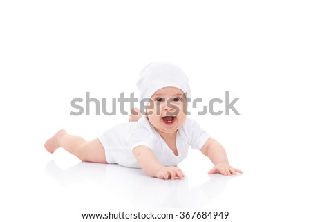 Cute laughing baby on white background - stock photo