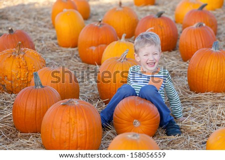 cute laughing boy having fun at the pumpkin patch