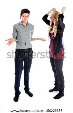 Cute Lesbian couple 30 years old shot in studio isolated on a white background - stock photo