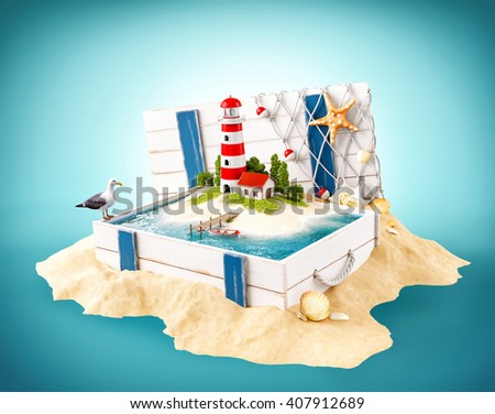 Cute lighthouse on the island in opened wooden box on a pile of sand. 3D illustration - stock photo