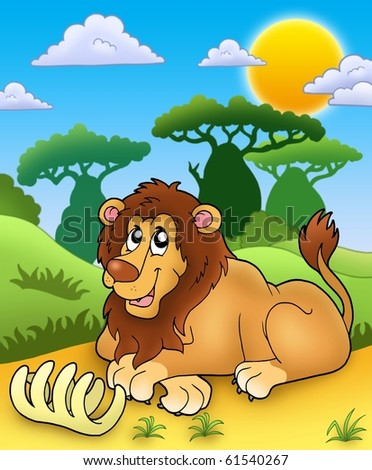 Cute lion with bone - color illustration. - stock photo