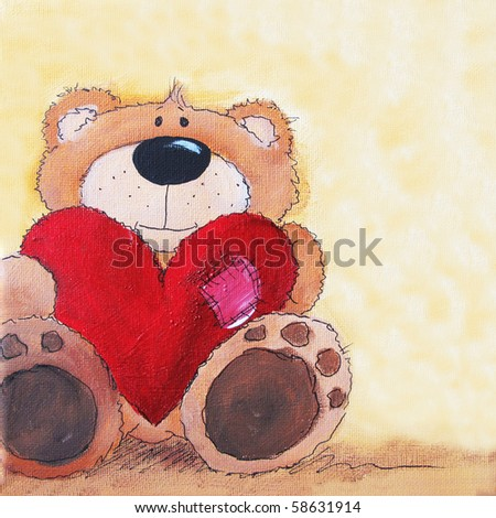 Cute littel teddy bear with big red heart in hands. Art is painted and created by photographer. - stock photo