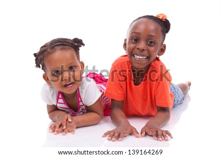 Cute little african american girl - Black children , isolated on white background - stock photo