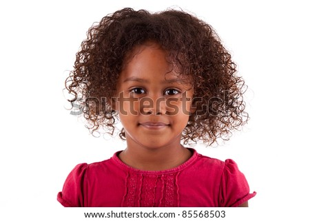 Cute little African Asian girl,  over white background