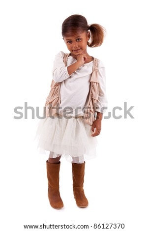 Cute little African Asian girl,  over white background - stock photo