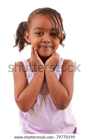 cute little african girl smiling isolated on white background - stock photo