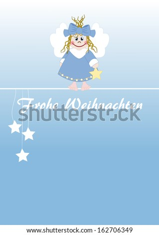 Cute little angel - german text: Merry Christmas - stock photo
