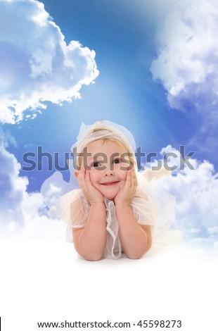 cute little angel in heaven - stock photo