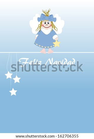 Cute little angel spanish text: Merry Christmas - stock photo