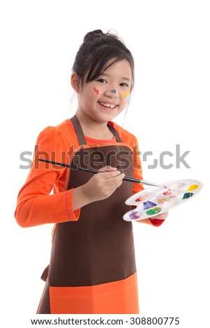 Cute little asian girl painting isolated on white background,isolated - stock photo