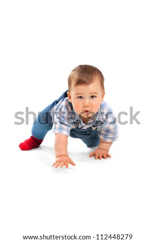 Cute little baby boy on a white - stock photo