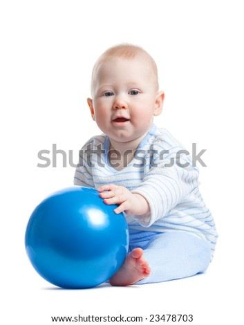 cute little baby boy with blue ball isolated on white background
