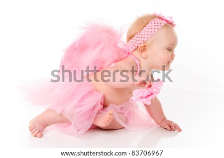 Cute little baby girl dressed as an Angel - stock photo