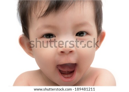 Cute little baby girl of asian yelling her first words - stock photo