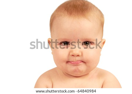 Cute little baby making a funny face expression - stock photo