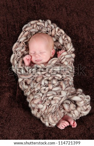Cute little baby  - newborn baby boy - stock photo