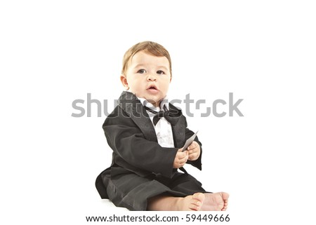 cute little baby with dinner jacket