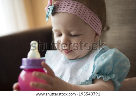 Cute little baby with pacifier  - stock photo