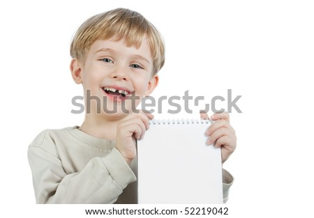 cute little blond boy holding the notebook - stock photo